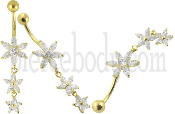 flower  gold belly button rings