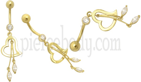 mini heart  gold belly button rings