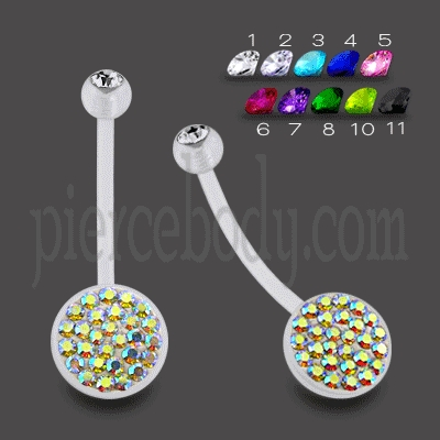 bio flex crystal belly rings clearance