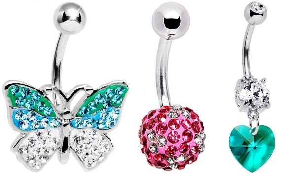 crystal belly button rings
