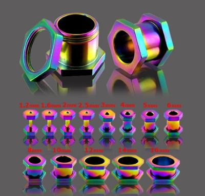 rainbow hexagonal flesh tunnels