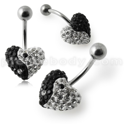 yin yang crystal belly rings