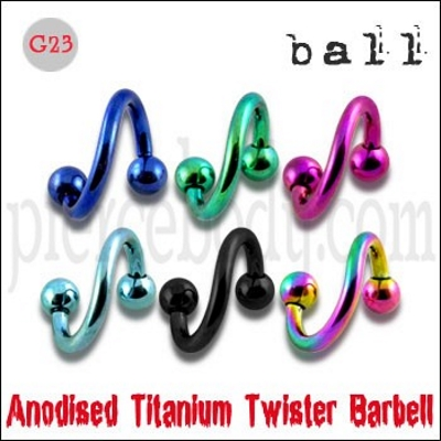 anodized titanium twisted barbell