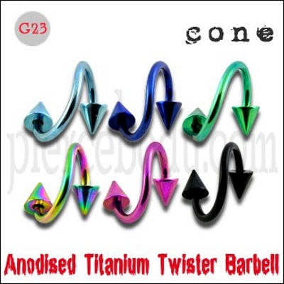 anodized twisted barbell