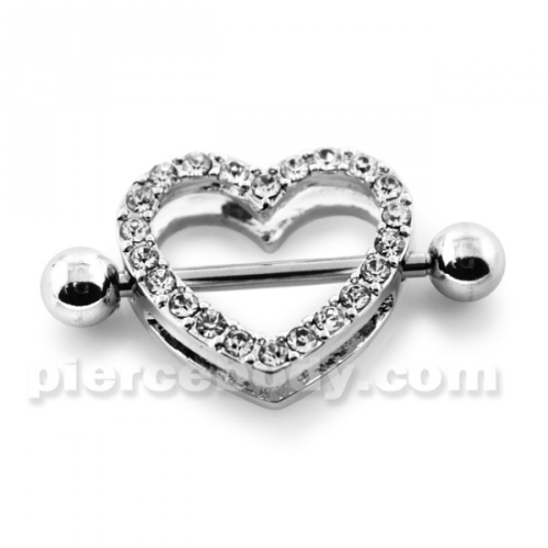 jeweled heart surgical steel nipple ring designs