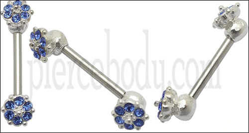 silver jeweled flower nipple straight bar