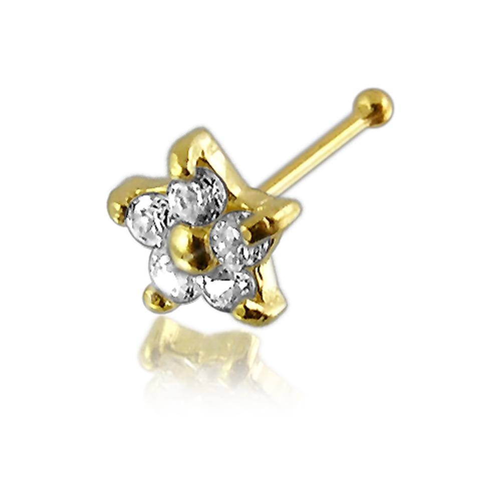 22G 6 mm 14K Solid Gold Genuine Diamond  End Bone Nose Stud Piercing Jewelry