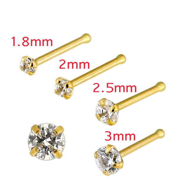9ct 9K Yellow Gold 2mm created Emerald Nose Stud Ring Bezel Setting body jewelry