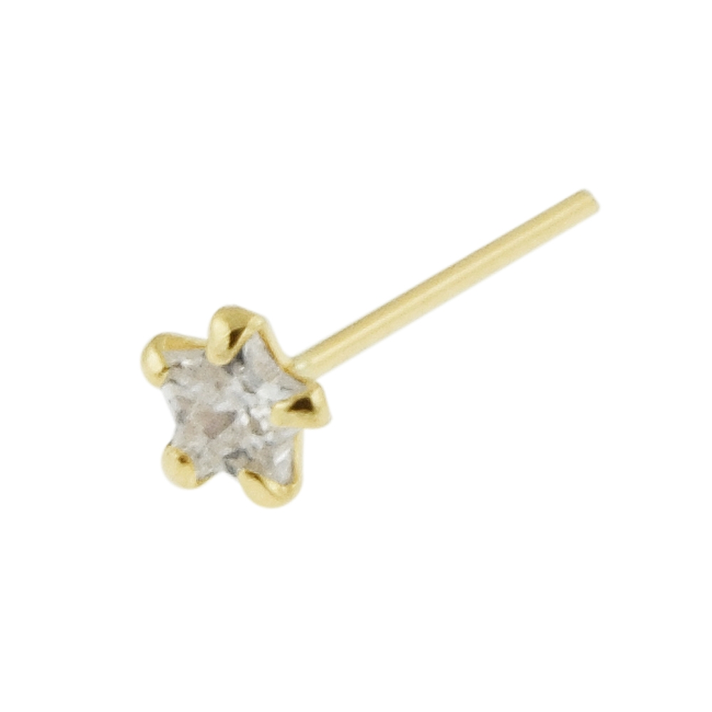 22G 9K Solid Yellow Gold Cross Nose Studs Available in 4 shapes of Nose Studs