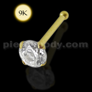 9K Solid Yellow Gold Ball End Jeweled Nose Pin