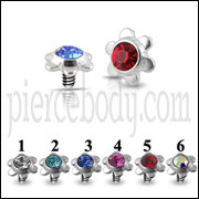 Flower Jeweled Dermal Anchor Tops