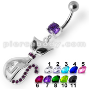 Jeweled Kitty Dangling Belly Ring