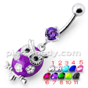 Fancy Jeweled Owl Dangling Belly Ring