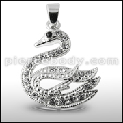 925 Sterling Silver Jeweled Swan Pendant
