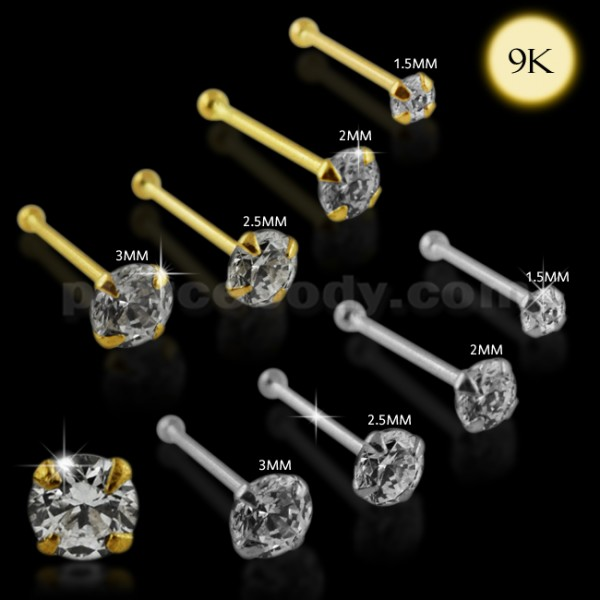 22G-6mm 9K Solid Yellow Gold Jeweled Crystal ProngSet Ball End Nose Pin Piercing