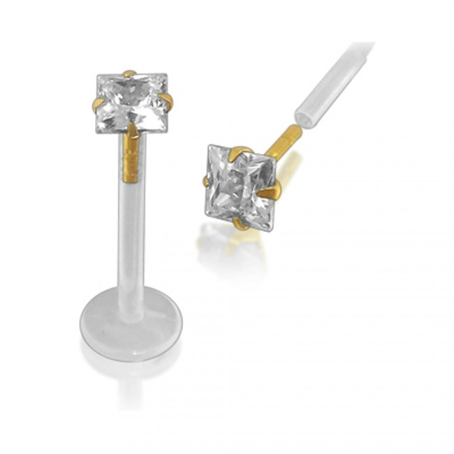 Best Prices For Bioflex Lip Labret With 14k Gold Square Head