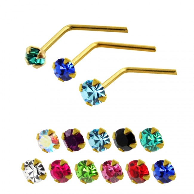 Best Prices For 14k Gold Crystal Jeweled L Shaped Nose Stud