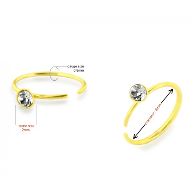 Best Prices For 9k Gold Jeweled Open Hoop Nose Ring 9knr010