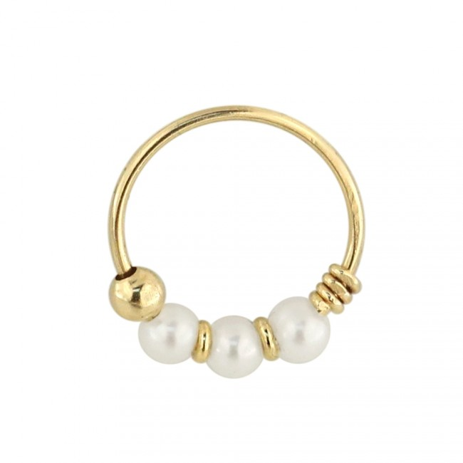 Best Prices For 9k Yellow Gold Genuine Pearl Hoop Nose Ring