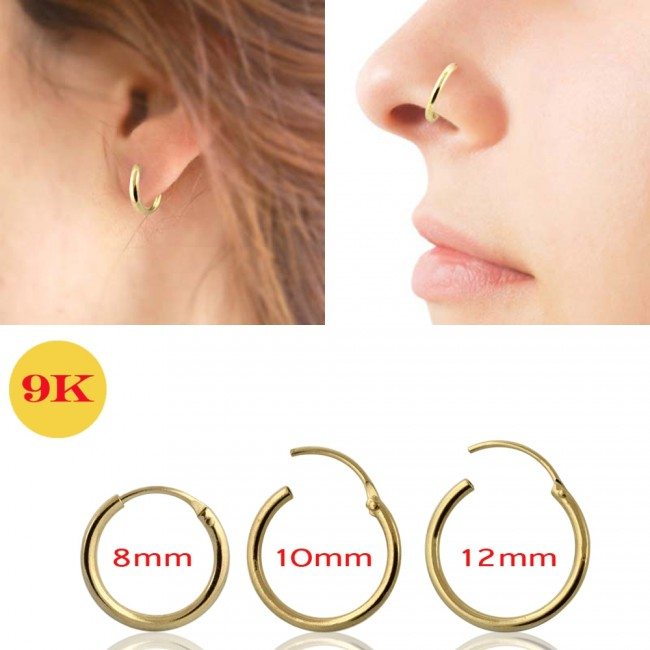 Best Prices For 9k Yellow Gold Hinged Segment Hoop Nose Ring