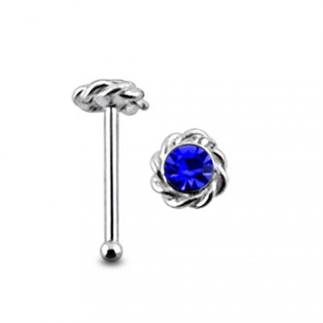 Best Prices For Gemmed Twined Flower Ball End Nose Pin Bn020