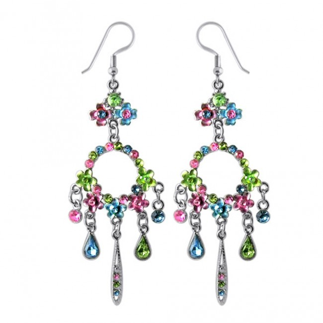 00a2c8255b80 Best Prices for Multi Crystal Dangling Costume Earring-CLER0
