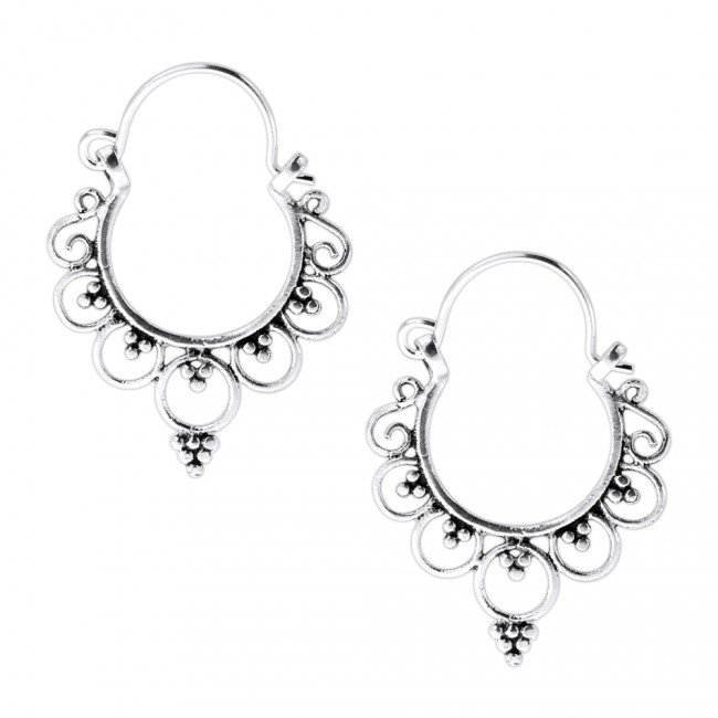 925 Sterling Silver Tribal Rounds with Dots Ear Ring