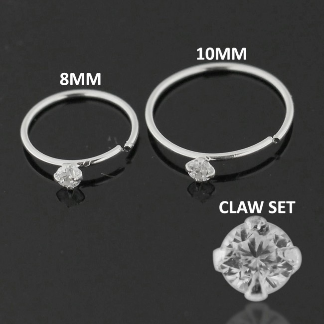x10 Sterling Silver Square Clear Claw Set Straight Pin Nose Studs