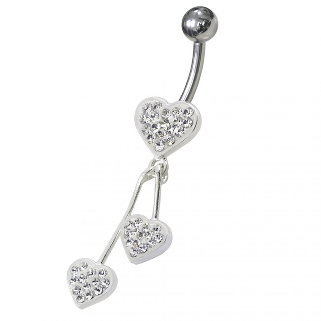 SURGICAL STEEL BODY JEWELLERY 1 x RED HEART STYLE JEWELLED  NAVEL BELLY BAR