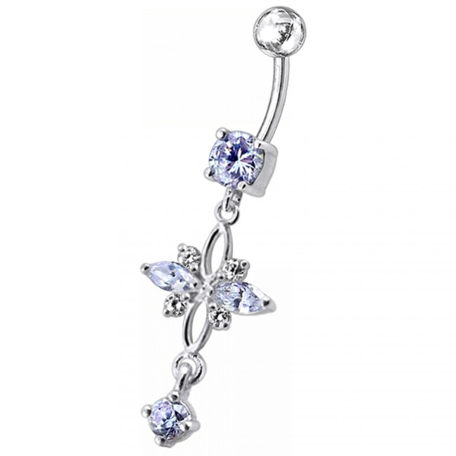 Red CZ Gemstone Fancy Flower with Butterfly 925 Sterling Silver with Titanium Belly Button Ring