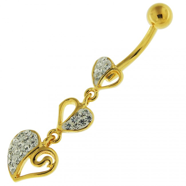 14g 10mm Yellow Gold Plated Sterling Silver Clear Jewel Triple Heart Belly Bar