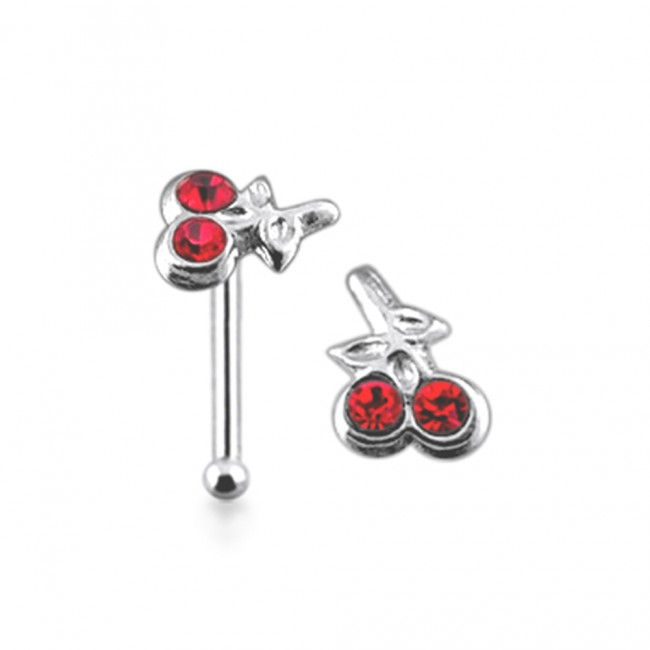 Best Prices For 925 Silver Jeweled Cherry Nose Stud Snp110
