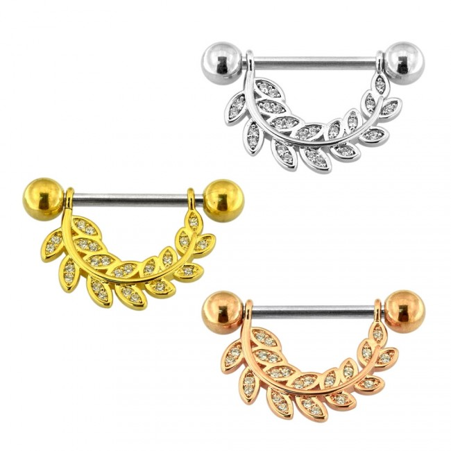 Best Prices For Micro Jeweled Floral Leaf Nipple Piercing Ba