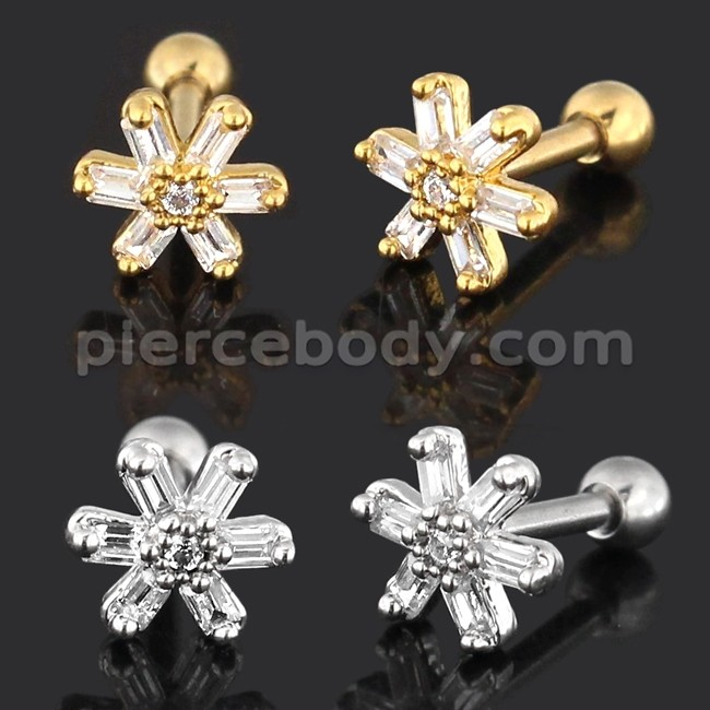 Square CZ Stone Flower 316L Surgical Steel Cartilage Helix Tragus Earring Piercing
