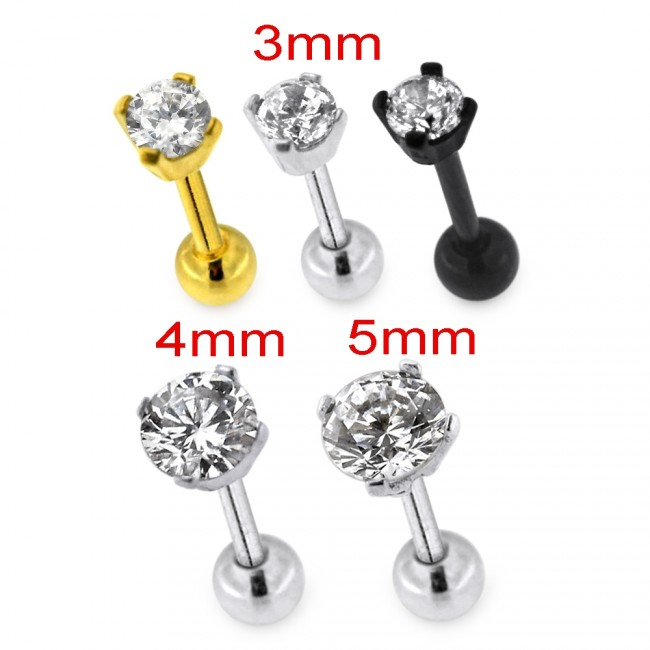 Round Jeweled Cartilage Helix Tragus Piercing Ear Stud
