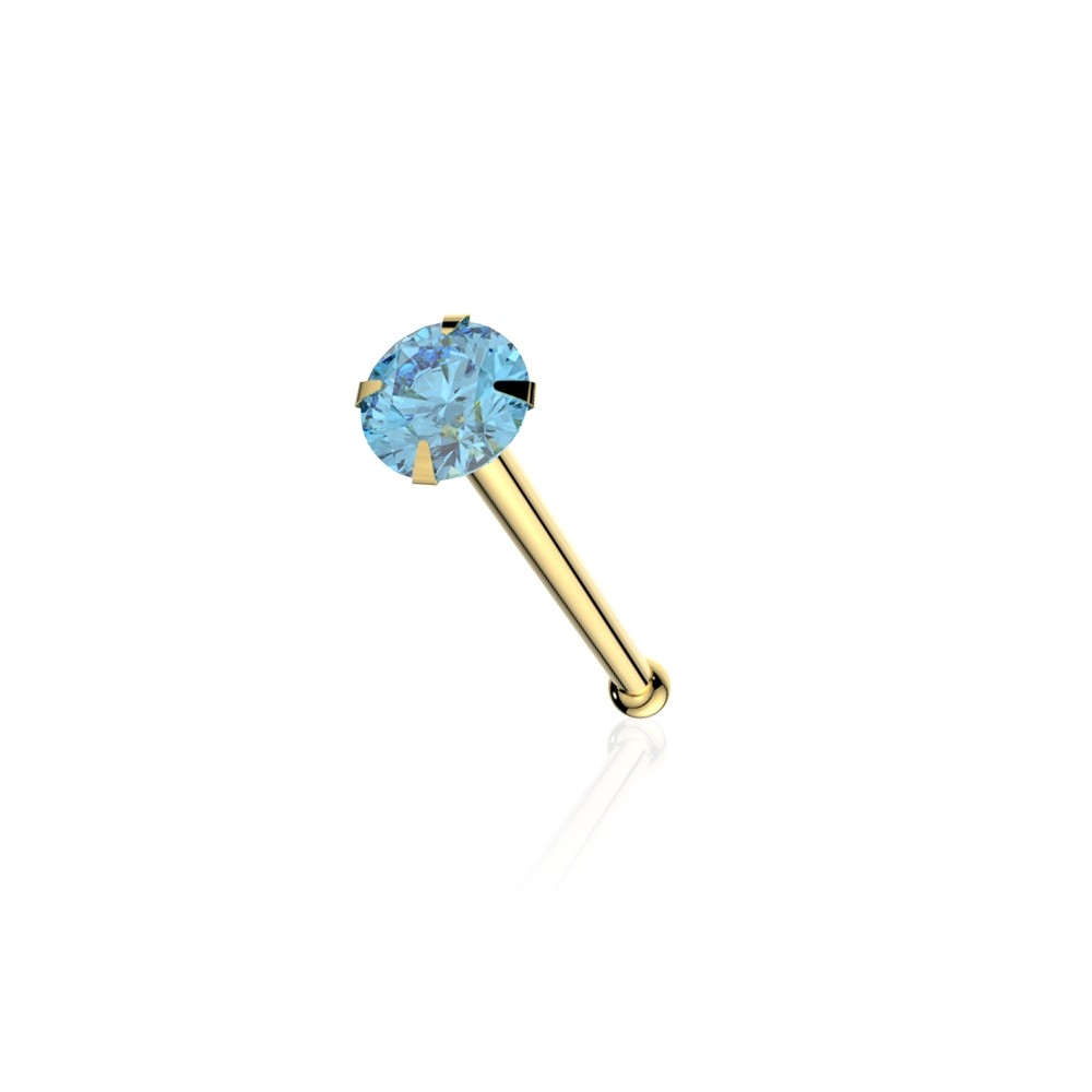 22G-6 mm 9K Solid Yellow Gold Jeweled Coiled Ball End Nose Stud Price Per Piece