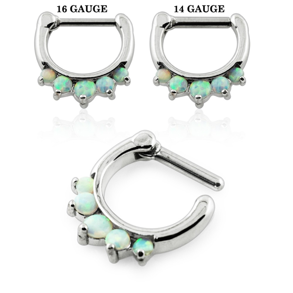 Surgical Steel Septum Clicker w//Three Prong Set Opals Body Gauges White