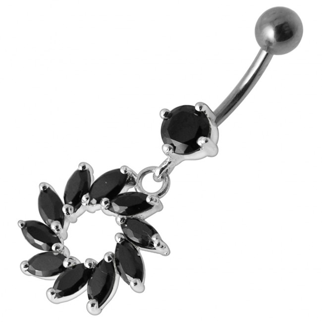 Dangling Fancy Green Stone Sunflower Jeweled Curved Bar Belly Ring