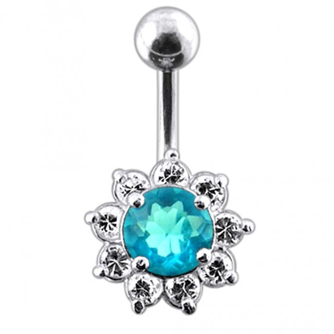 Titanium Jeweled Flower Navel Ring