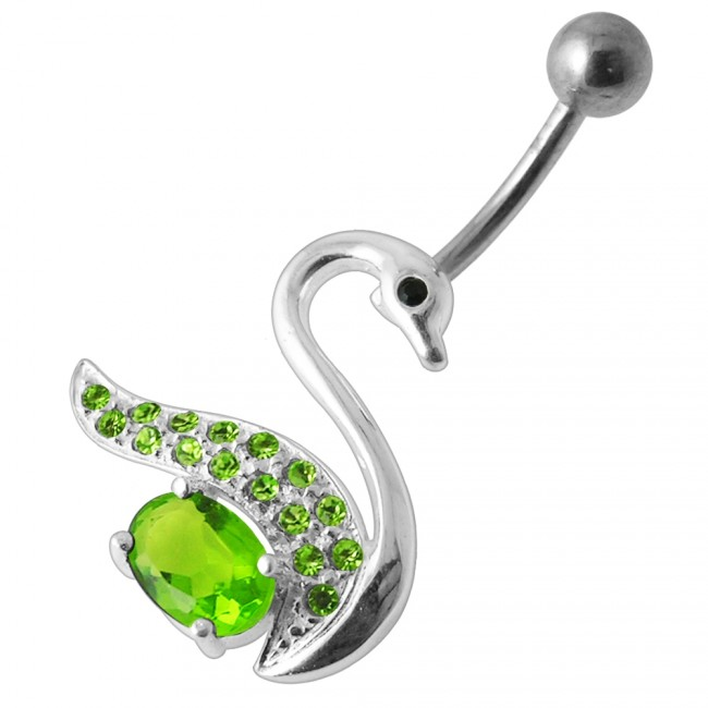 Fancy Jeweled Silver Swan Banana Bar Belly Button Ring