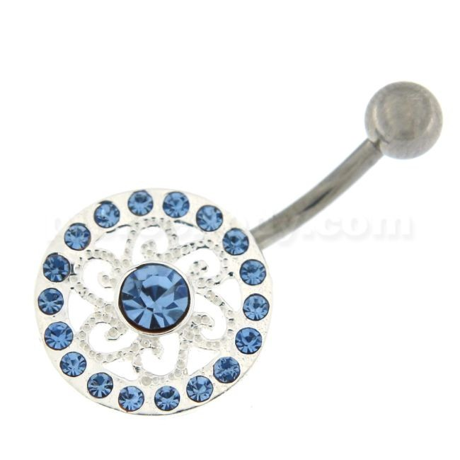 Multi Jeweled Round Flower Navel Belly Button Piercing