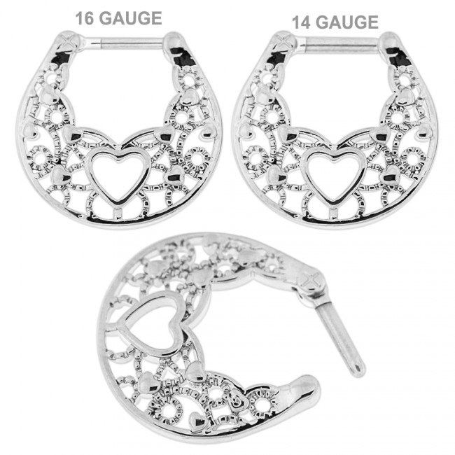 Floral With Center Heart Septum Clicker Piercing