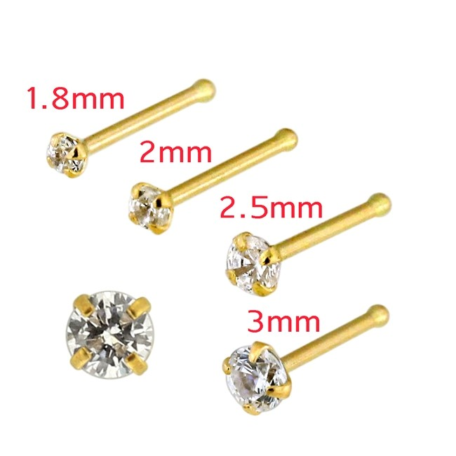 22 Gauge 9k Solid Yellow Gold L Shaped Jeweled Nose Stud Three