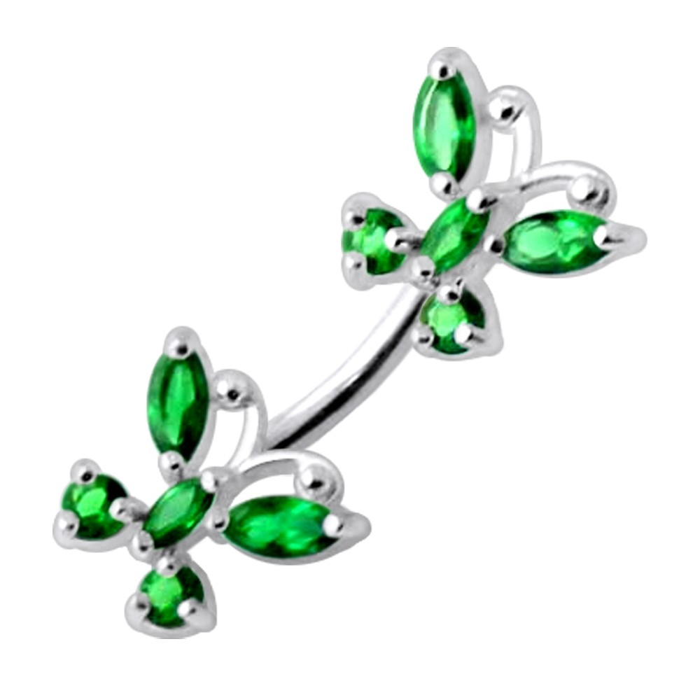925 Sterling Silver Jeweled Twin Butterflies Spinal Belly Button Ring