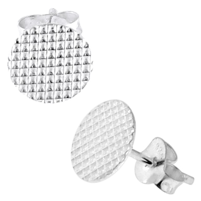 353c3913f 925 Sterling Silver Laser Square Cuts Round Ear Stud