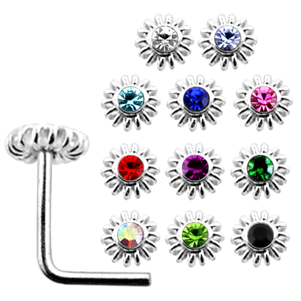 Shaped Nose Stud 10 Pcs 22G 6mm 925 Sterling Silver 2mm Circle Joint Jeweled L