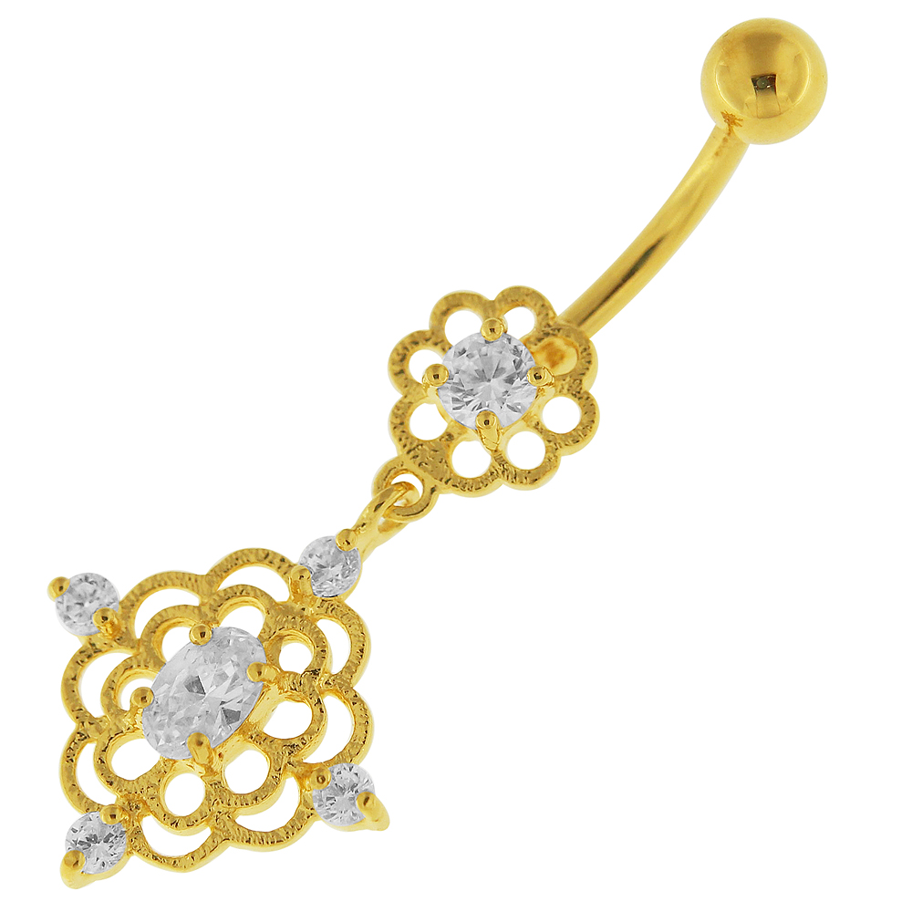 14g 10mm Yellow Gold Plated Sterling Silver Clear Jewel Flower Cutout Belly Bar