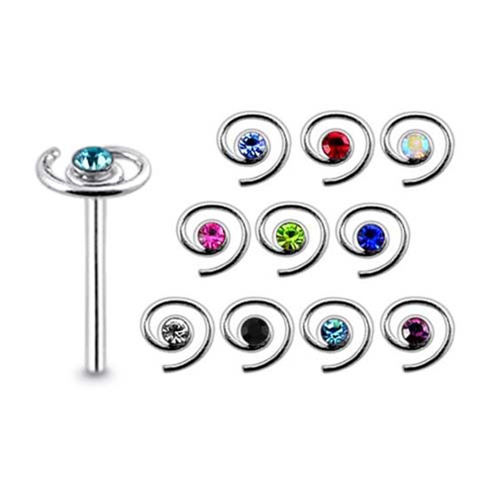 10 Pcs 22G 9mm 925 Sterling Silver 2mm Four Join CZ Jeweled Nose Straight Stud